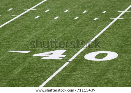 Forty yard line of football Field - stock photo