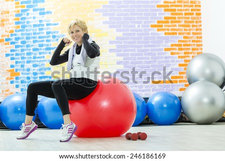 Forty years woman and workout - stock photo