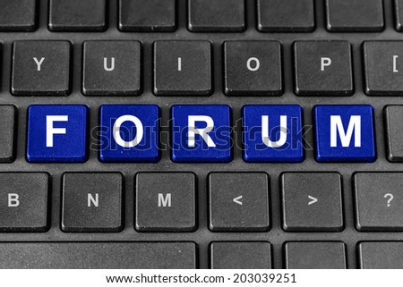 forum blue word on keyboard - stock photo