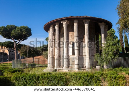 Forum Boarium, a cattle forum venalium of Ancient Rome, with the Temple of Hercules Victor near the Tiber River in Rome Italy