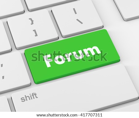 forum button keyboard, 3d rendering