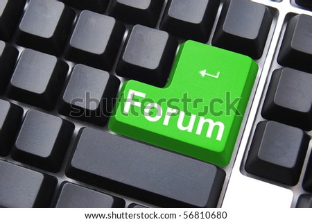 forum button shows concept for internet rss communication - stock photo