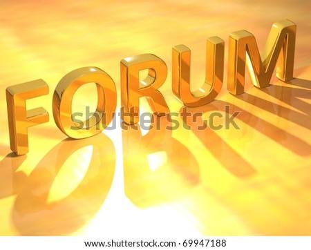 Forum Gold Text - stock photo