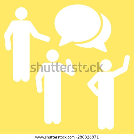 Forum icon from Business Bicolor Set. This flat raster symbol uses white color, rounded angles, and isolated on a yellow background. - stock photo