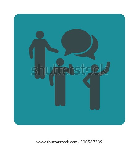 Forum icon. This flat rounded square button uses soft blue colors and isolated on a white background. - stock photo