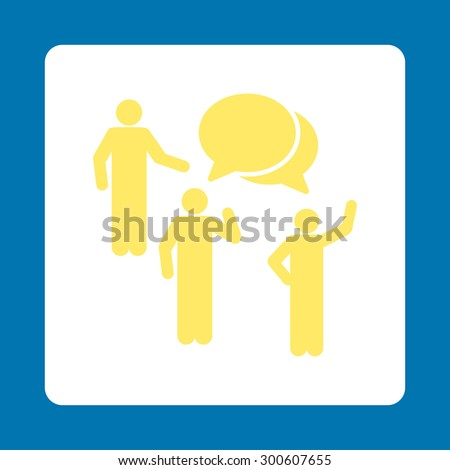 Forum icon. This flat rounded square button uses yellow and white colors and isolated on a blue background. - stock photo