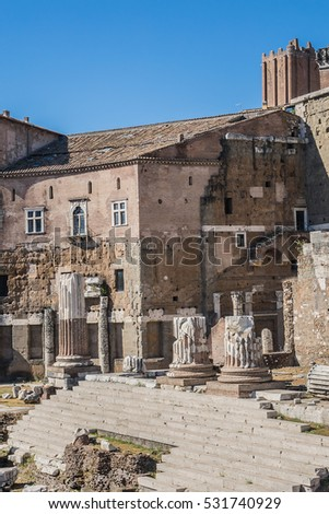 Forum of Augustus (Foro di Augusto) is one of the Imperial forums of Rome. Italy.