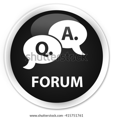 Forum (question answer bubble icon) black glossy round button