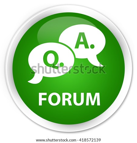 Forum (question answer bubble icon) green glossy round button