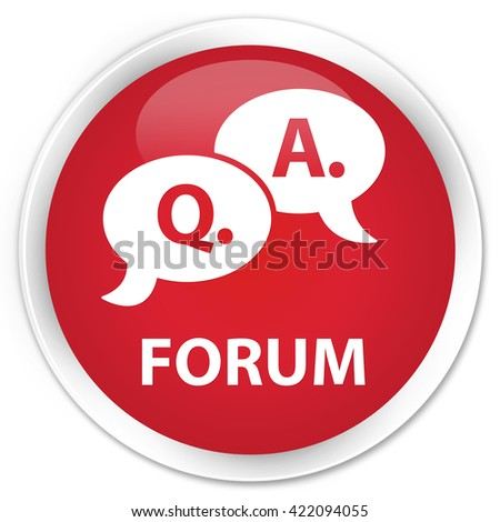 Forum (question answer bubble icon) red glossy round button