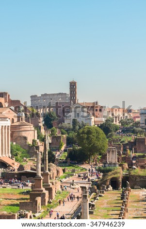 Forum - Roman ruins with Colosseum in Rome at sunny day, Italy