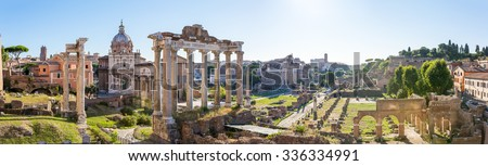 Forum Romanum view from the Capitoline Hill in Italy, Rome. Panorama - stock photo
