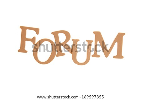 Forum  - Three Dimensional Letter isolated on white background.