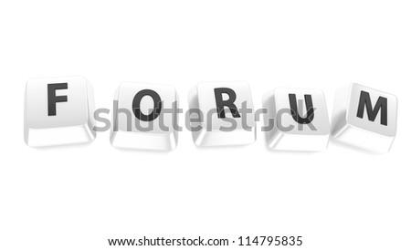 FORUM written in black on white computer keys. 3d illustration. Isolated background. - stock photo
