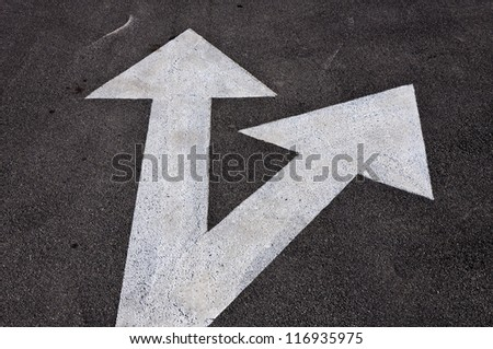 Forward and right signs on the road - stock photo
