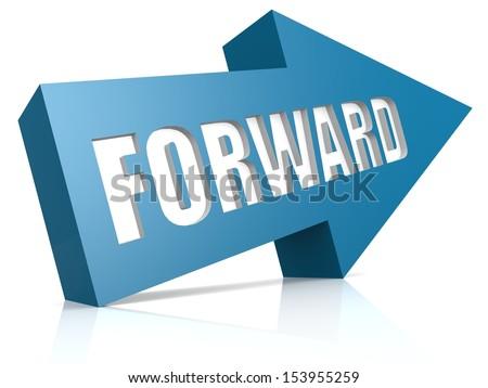Forward blue arrow - stock photo