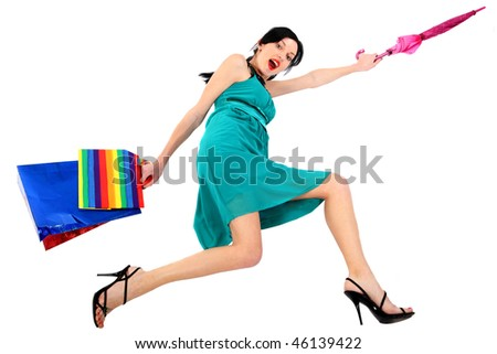 Forward! On Sale!  Active beautiful sexual girl! Hastening to the sale. - stock photo