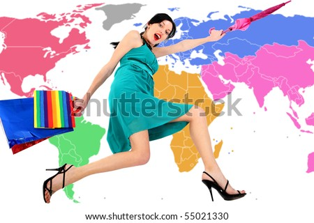 Forward! On Sale! Active beautiful sexual girl  on  world map  background - stock photo