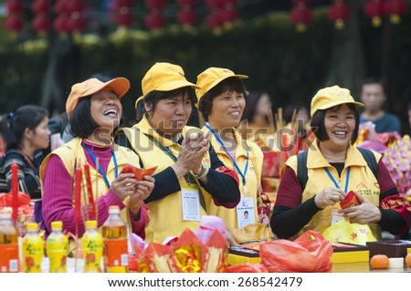 FOSHAN march 15:26 Chinese New Year, is the birthday of the buddhist goddess of mercy, believers to worship the goddess of mercy temple. Pray for happiness and health march 15 2015 in Foshan, China
