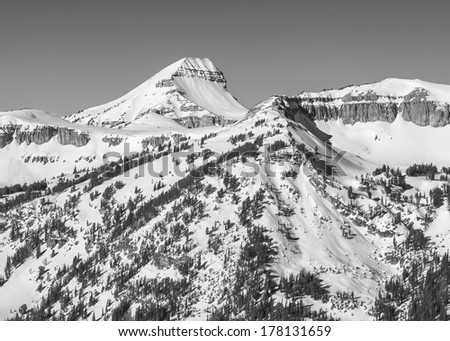 Fossil Mountain in winter, monochrome.  Near Jackson Hole Wyoming. - stock photo