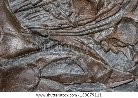 fossil remains of an dinosaur - stock photo