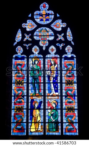Fougeres (Ille-et-Vilaine, Brittany, France) - Interior of the Saint Leonard church, in gothic style, stained glass