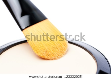 foundation and makeup brush - stock photo