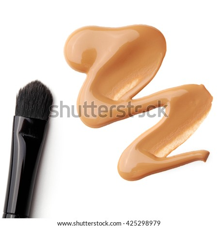 Foundation color sample - make-up for fashion and beauty magazines - stock photo