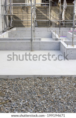 Foundation Construction Of Residential Building Work - stock photo