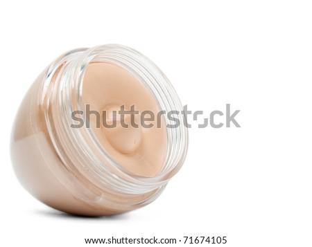 Foundation cream isolated on white background - stock photo