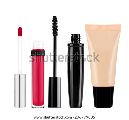 foundation, mascara, lip gloss isolated on white background - stock photo
