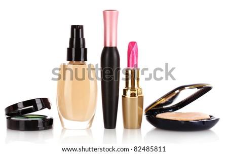 foundation, mascara, lipstick and powder isolated on white - stock photo