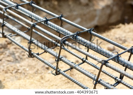 foundation steel for home building - stock photo