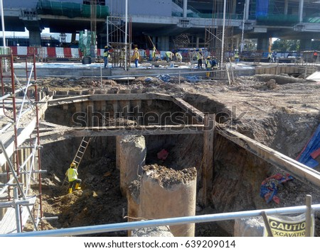 Foundation work include building piling works stock photo for Wood piling foundation