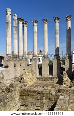 Foundations and columns of the Corinthian order roman temple in Cordoba, Spain - stock photo