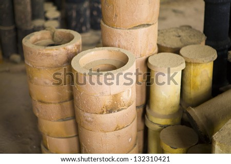Foundry, sand molded casting - stock photo