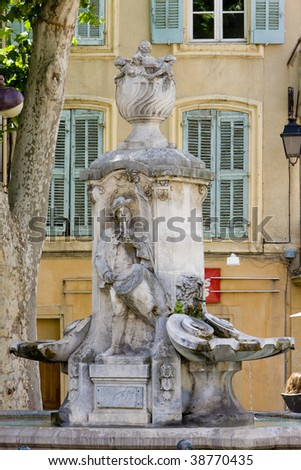 fountain, Aix-en-Provence, Provence, France - stock photo