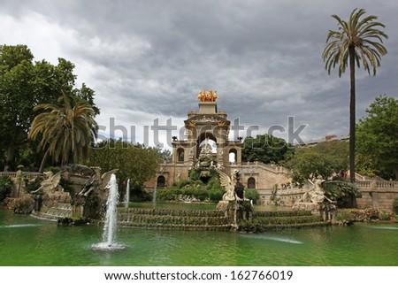 Fountain and cascade in park De la Ciutadella in Barcelona, Spain, Catalonia  - stock photo