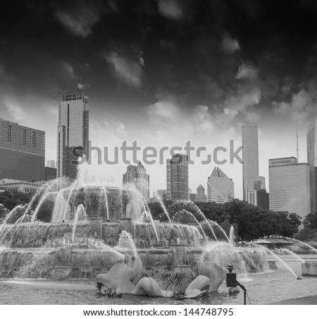 Fountain and Skyscrapers of Chicago - Illinois - stock photo