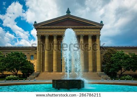 Fountain and the Art Museum in Philadelphia, Pennsylvania. - stock photo