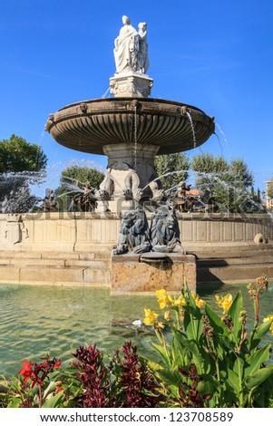 Fountain at La Rotonde, Aix-en-Provence, Provence, France - stock photo