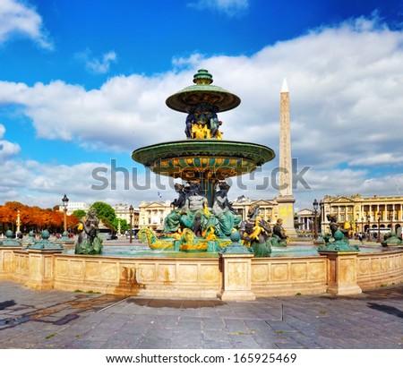 Fountain at Place de la Concord in Paris . France. - stock photo