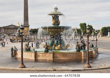 Fountain at Place de la Concorde in Paris, France - stock photo
