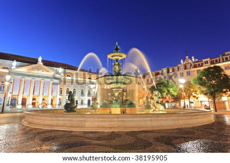 Fountain at Rossio square, Lisbon, Portugal - stock photo