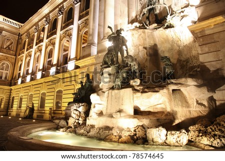 Fountain at the Buda Castle in Budapest, Hungary