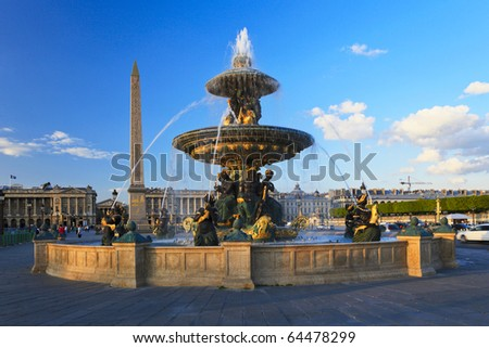 Fountain at the Place de la Concorde, Paris, France - stock photo