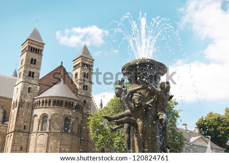 Fountain at the Vrijthof square near Basilica of Saint Servatius, in Maastricht, Holland - Netherland - stock photo