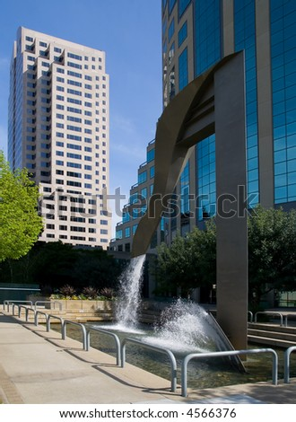 Fountain by the office buildings in downtown Sacramento California - stock photo