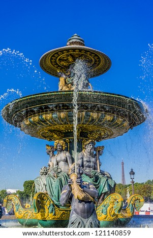 Fountain (designed by Jacques-Ignace Hittorff) on Place Concorde. Place de la Concorde is one of major public squares in Paris, France. Measuring 8.64 hectares, it is largest square in French capital.