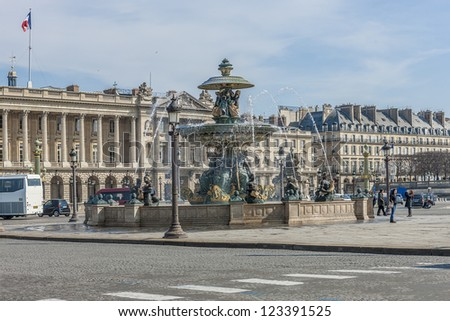 Fountain (designed by Jacques-Ignace Hittorff) on Place Concorde. Place de la Concorde is one of major public squares in Paris, France. Measuring 8.64 hectares, it is largest square in French capital. - stock photo